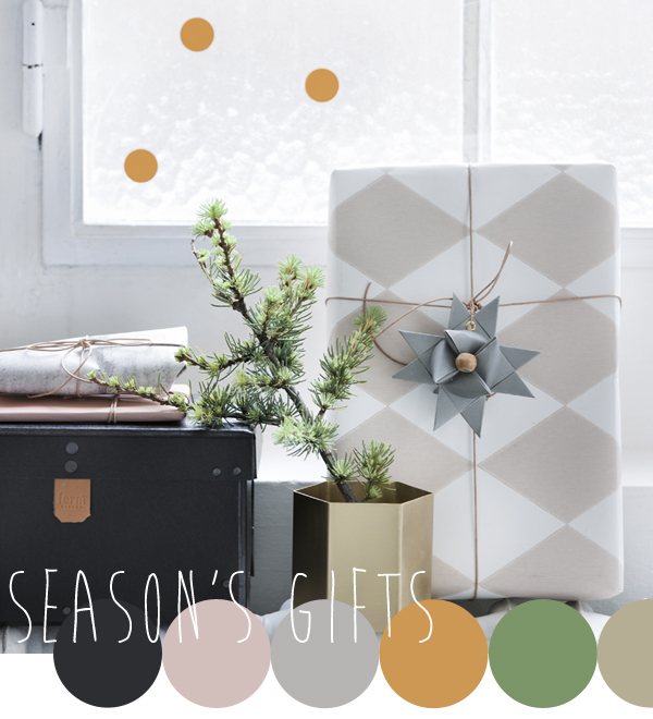 Seasonal colour inspiration from the X-MAS collection by Ferm Living, colour palette curated by Emma Lamb