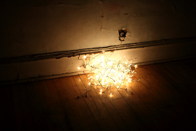 tangle of lights on the floor at Madame
