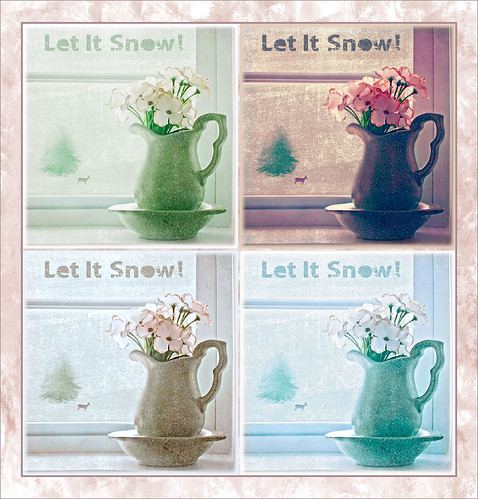 Image of white flowers in a pitcher using different color schemes from Topaz ReStyle