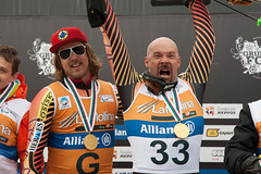Chris Williamson and guide Robin Fémy on the podium at the 2013 IPC Alpine Skiing World Championships in La Molina, Spain.
