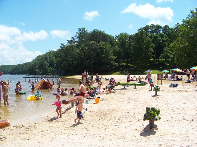 The beach at Fairy Stone State Park is the main attraction in summer.