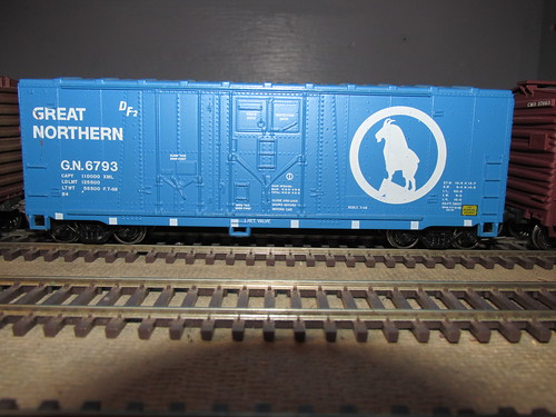 A 1967 era Great Northern Railroad 40 foot grain service box car. by Eddie from Chicago
