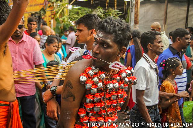Malaysia - Penang - Arulmigu Sri Balathandayuthapani Temple - Thaipusam - A devotee with the milking pots