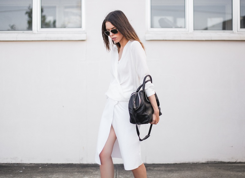 modern legacy fashion street style blog australia Christopher Esber flip split midi skirt drape blouse Witchery Alexander Wang Chastity chain tote bag white on white monochrome (1 of 2)