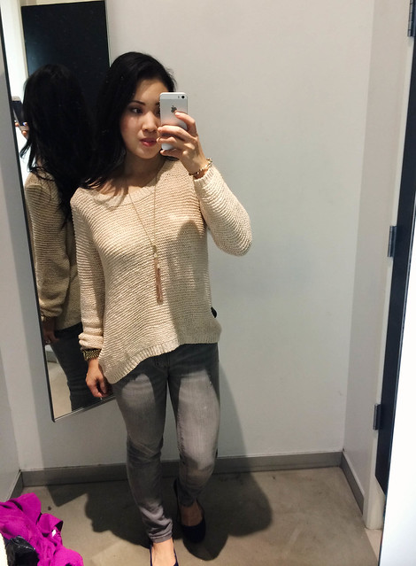 cute & little blog | h&m beige waffle knit sweater