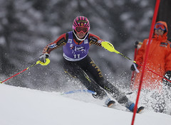 Gagnon in action during the slalom in Bormio, ITA