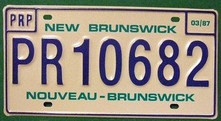 NEW BRUNSWICK 1987---PRORATE PLATE