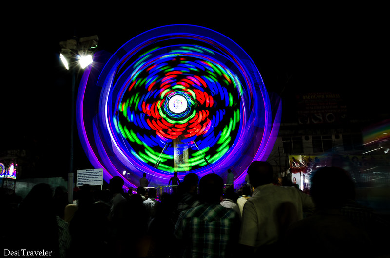 Giant Ferris Wheel in night picture Numaish Hyderabad