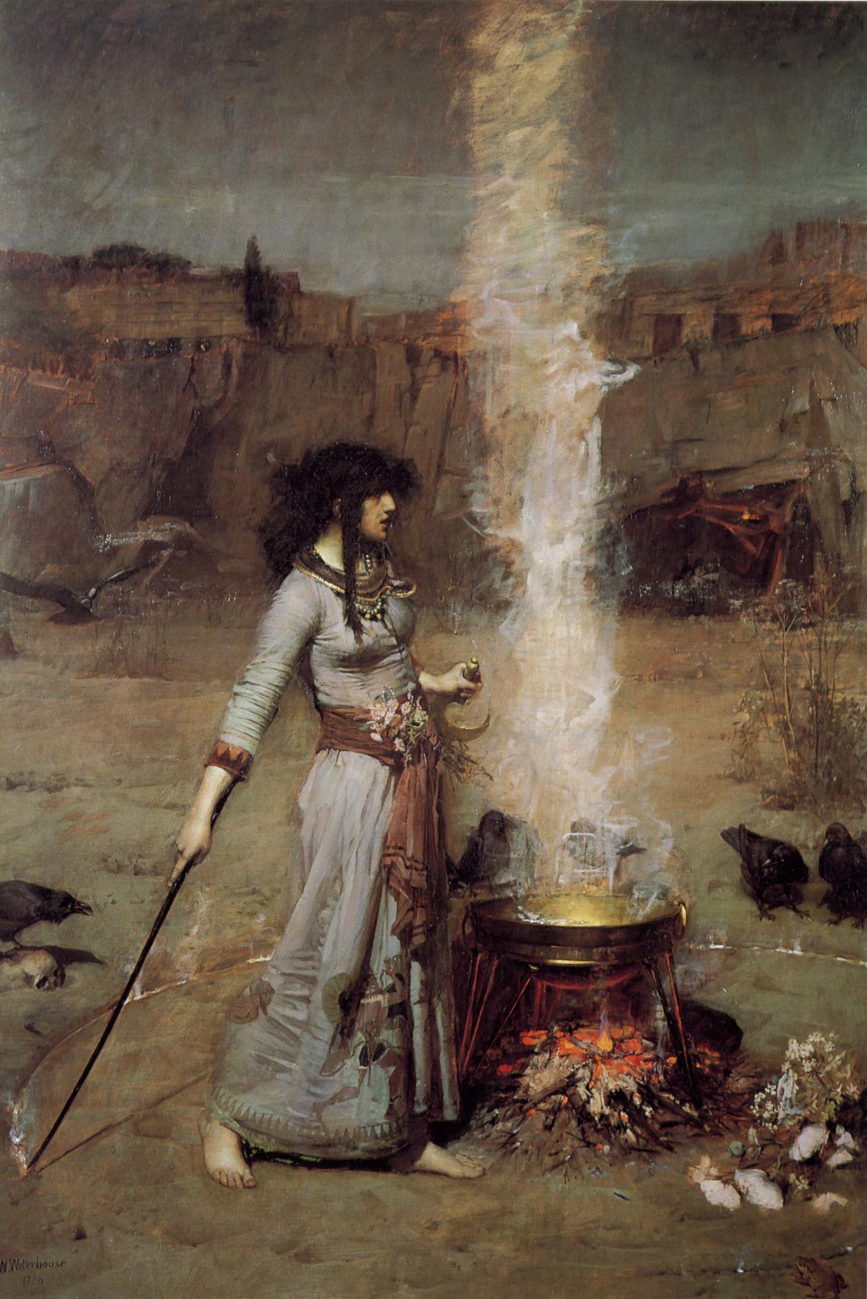 3. Bruja y el círculo mágico. Obra de J. W. Waterhouse. 1886