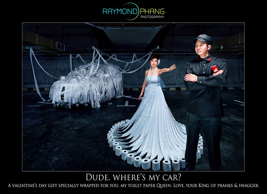 Conceptualised Pre-Wedding Unique toilet paper wedding gown by Raymond Phang Photography