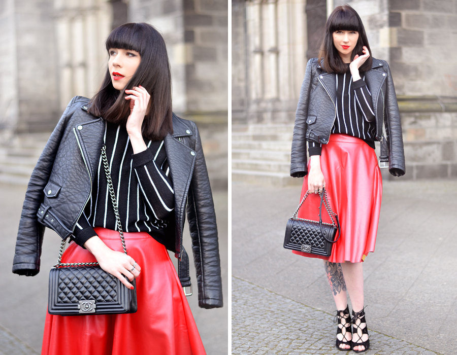 Romwe red skirt Zara leater biker Romwe striped shirt chanel le boy chanelofficial boybag CATS & DOGS black red fashion blogger Berlin 5