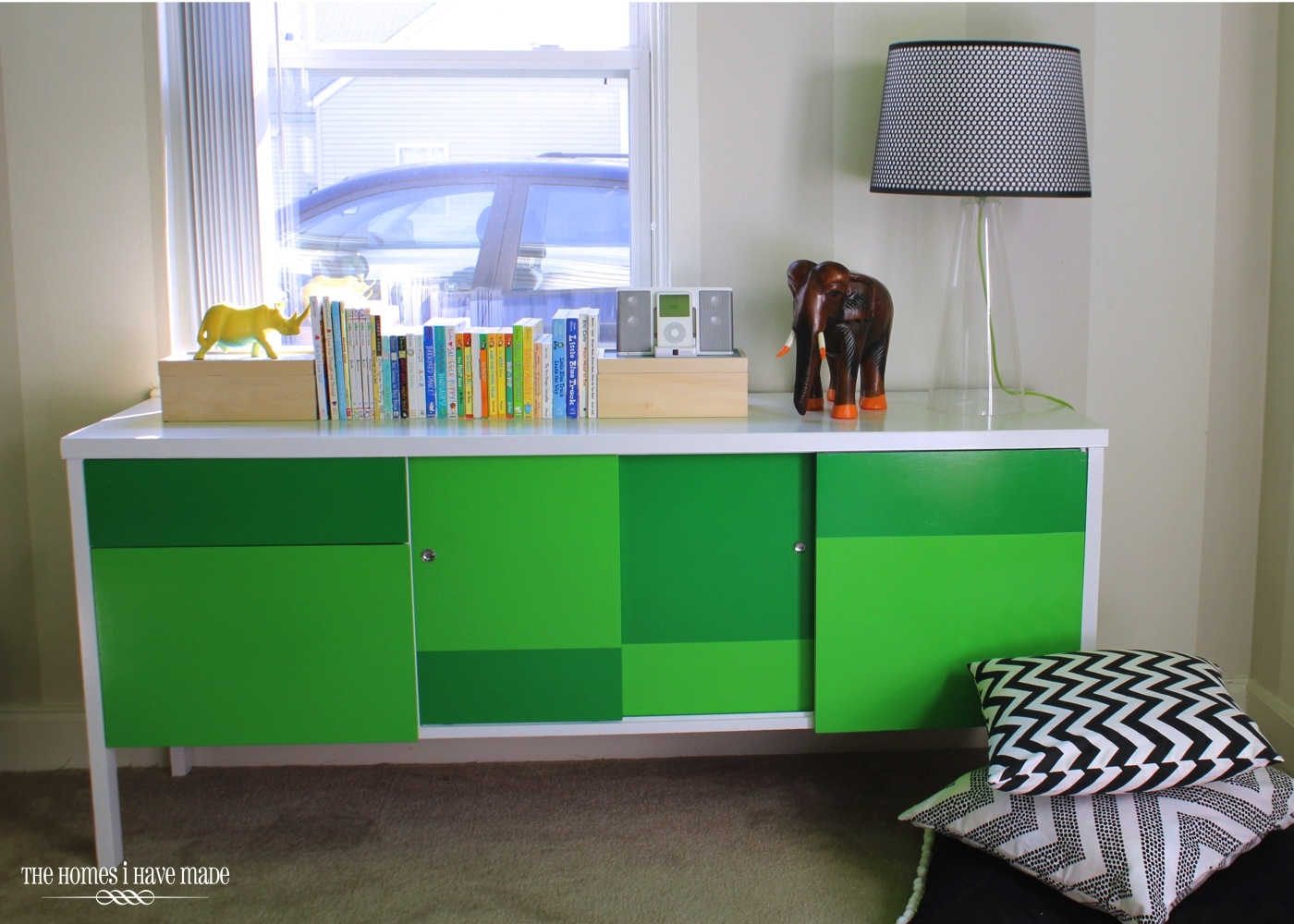 Green Color Block Credenza-010