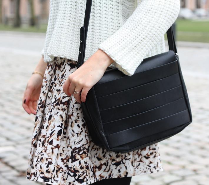 and other stories handbag, printed skirt mango