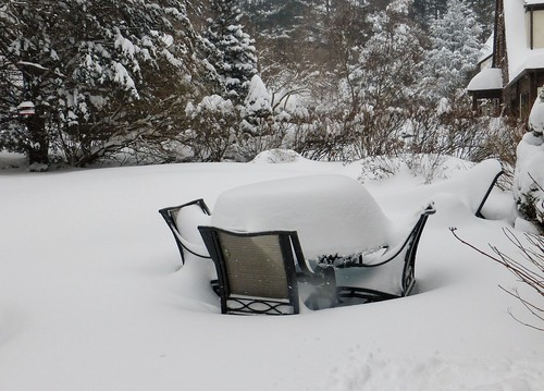 Snowy patio furniture