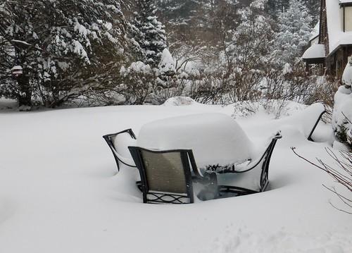 Snowy patio furniture