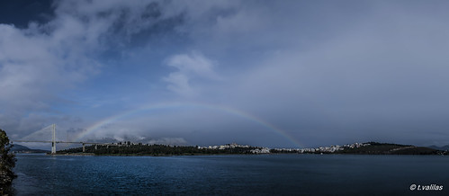 bridge sea sky panorama clouds rainbow greece evia chalkida chalkis euboea