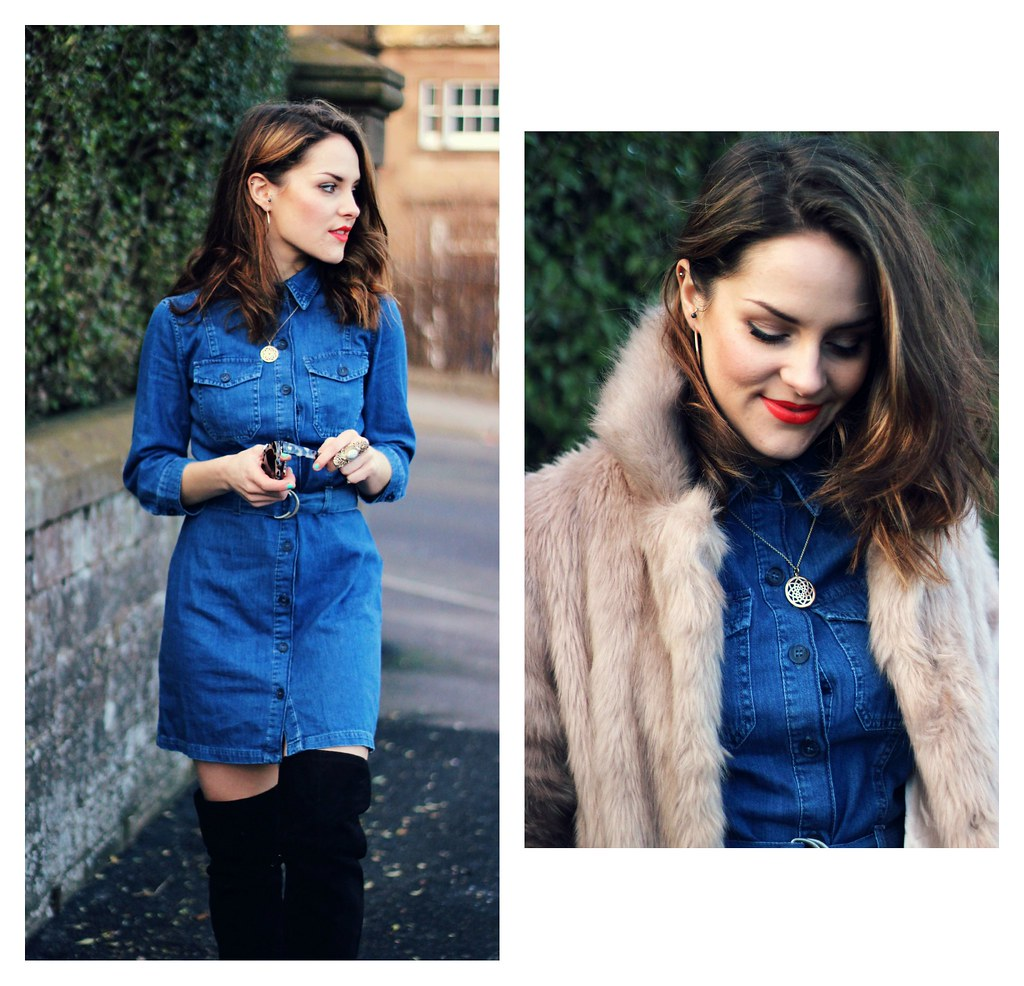 Miss Selfridge blue denim shirt dress 10