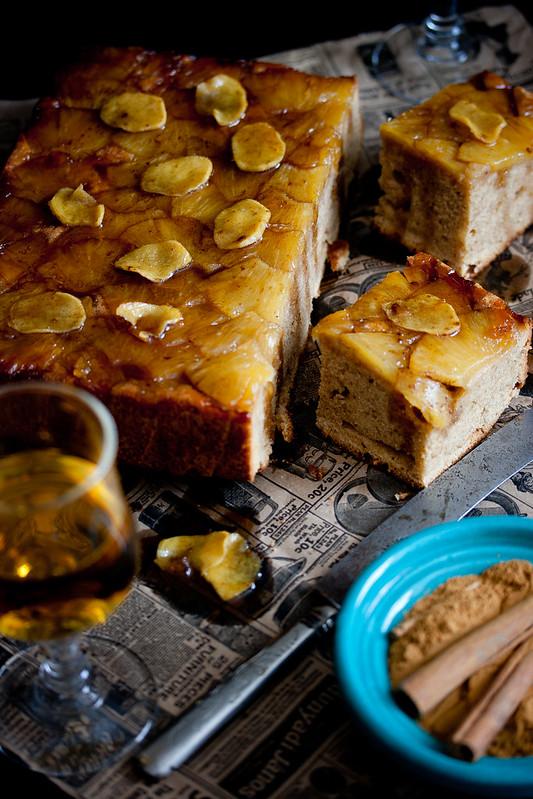Gâteau renversé à la crème fraîche, à l'ananas et au gingembre
