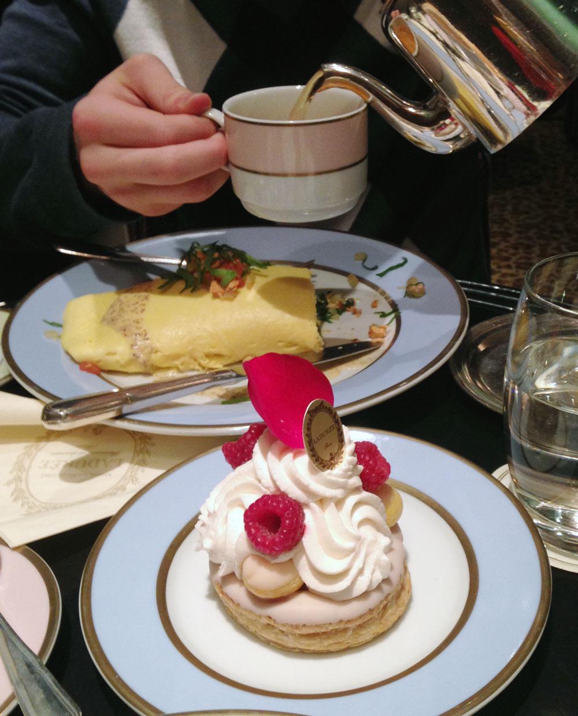 Laduree omelette and Saint Honore Rose Framboise dessert