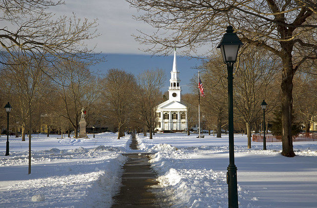 Guilford Green after the snowblower