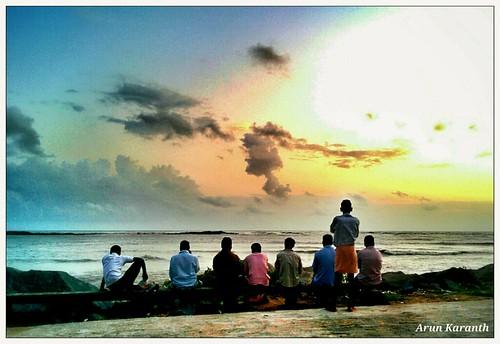 blue friends sunset red orange india beach water southindia mangalore
