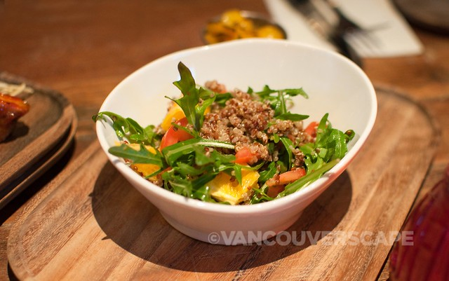 Quinoa salad, cucumber, arugula, orange vinaigrette
