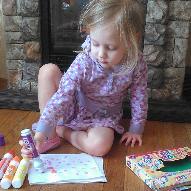 If you have a toddler or preschooler, go buy some Paint Dabbers (Target). They are one of Lily's favorite Christmas gifts, and she plays with them every day! They aren't messy at all! #playmatters  On another note, maybe she will change out of this dress