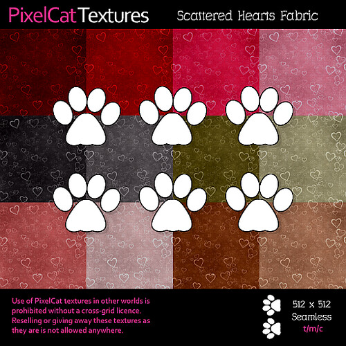 PixelCat Textures - Scattered Hearts Fabric