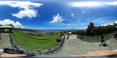 Cirrus clouds appearing to radiate from Pearl Harbor in the Weat as seen from Pu'u Ualaka'a above Honolulu -a 360° Equirectangular VR