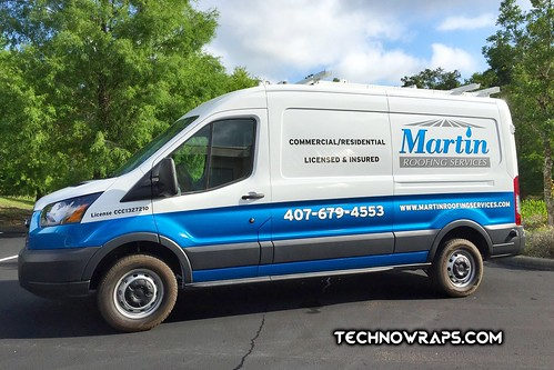 Partial wrap on full size cargo van in Orlando, Florida