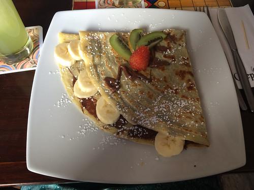 Arequipa: crêpe bananes et chocolat en dessert