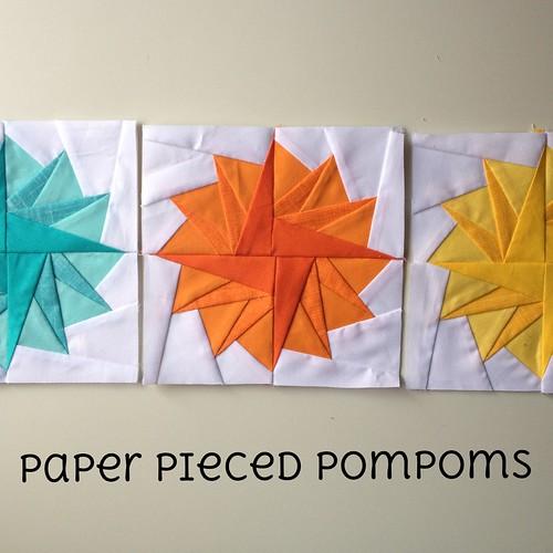 Paper pieced pompoms tutorial
