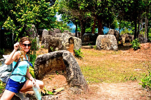 Lina and a normal bunch of lychees on the plain of jars site 3