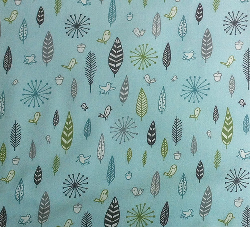 birds and feathers - blue fabric