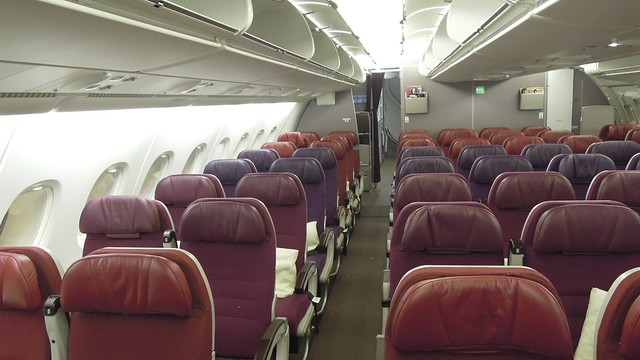 Malaysia Airlines A380 upper deck Economy cabin, Heathrow ...