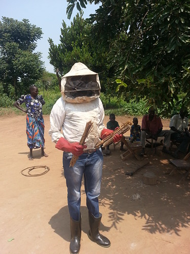 Ojok Simon proudly wearing his bee suit
