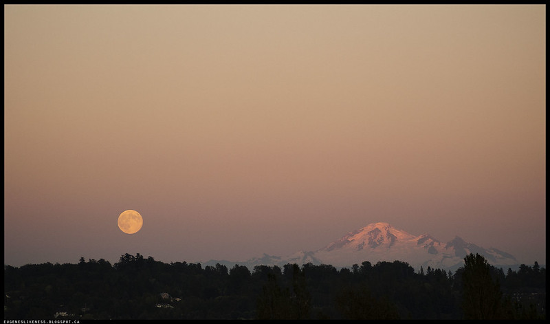 Mt. Baker and Full Moon