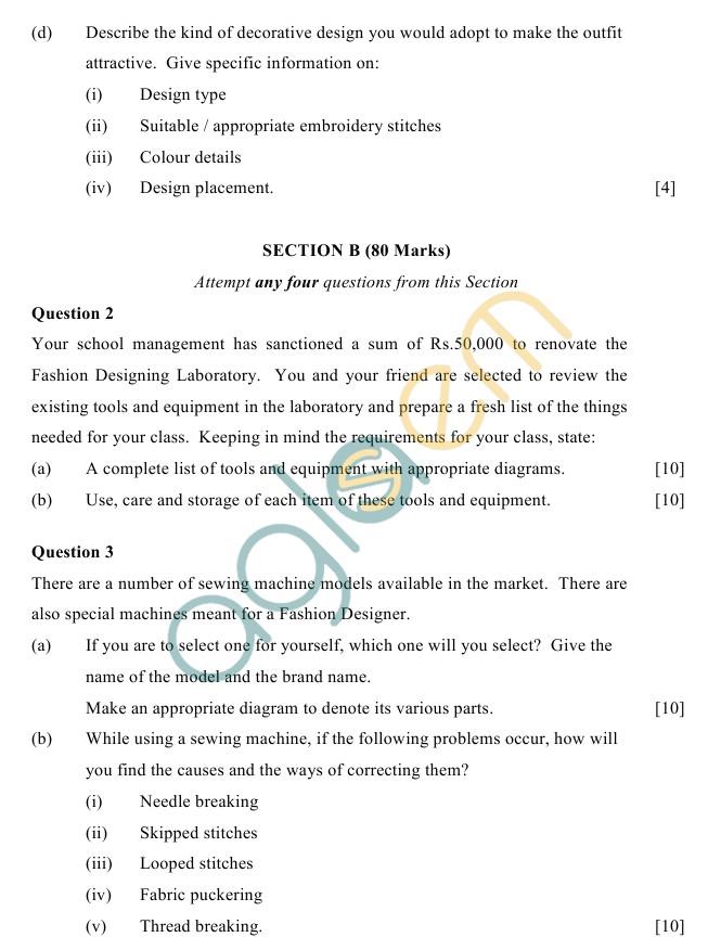 ICSE Class 10Fashion Designing Sample Paper
