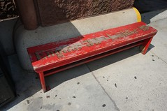 Bench at the fire station of Engine 33 Ladder 15