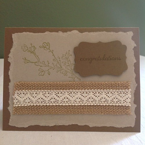 Custom order of 15 cards. Contact me if you'd like a custom set! #stampinup #nature #natural #burlap #lace #customcards