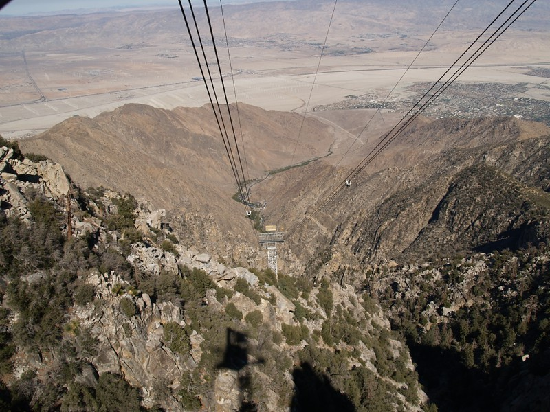 View downwire from the Palm Springs Tram as we head home