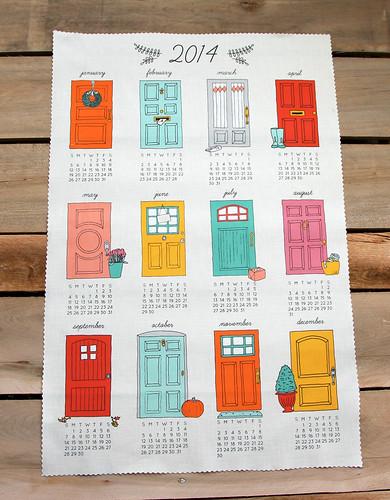 2014 Design Challenge Top Ten Winner: Knockin' on 2014 Tea Towel Calendar by katielenius