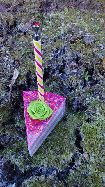 Needle ice under moss. Cake notepad for scale.