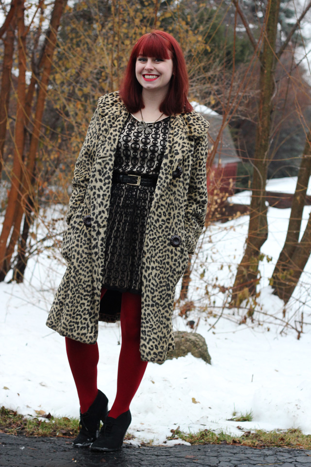 a holiday outfit  vintage leopard print coat  lace dress