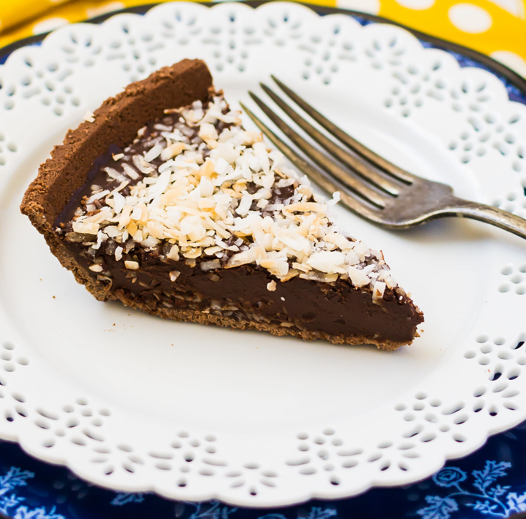 Chocolate Ganache Pie with Toasted Coconut Cropped Closeup