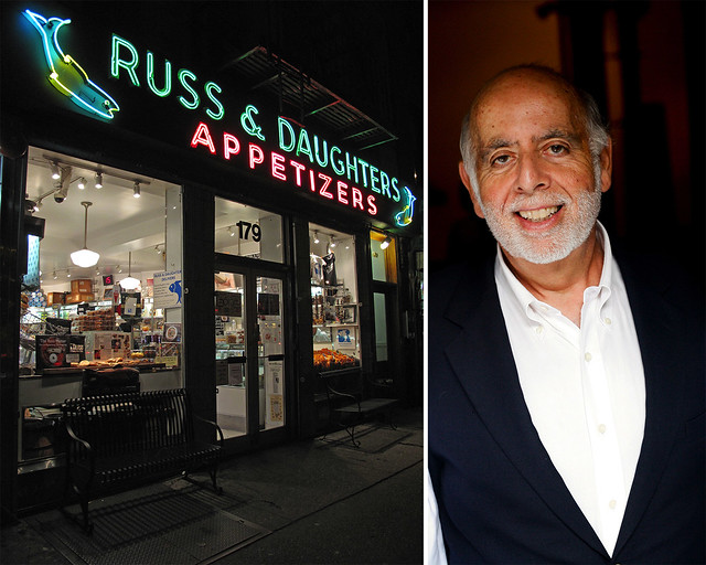 Russ & Daughters (left); photo by Jen Snow, courtesy of Russ & Daughters. Author Mark Russ Federman (right); photo by Belathée Photography, courtesy of Russ & Daughters.