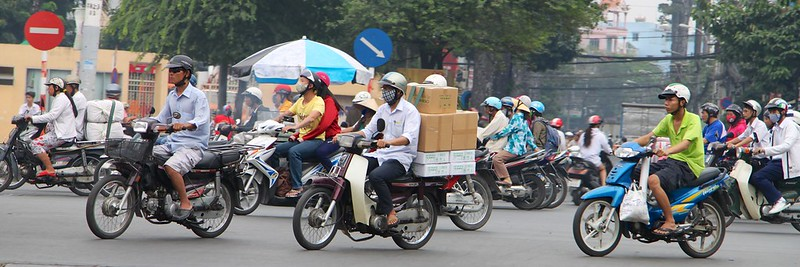 Urban Environments - a busy cross roads in Ho Chi Minh City, Vietnam