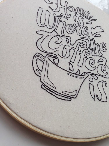 Home is where the coffee is embroidered typography