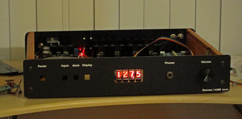 nixie volume control display on stereo/amp
