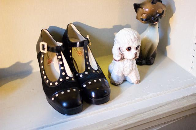 Orla Kiely Clarks AW14 black mary jane dotty shoe